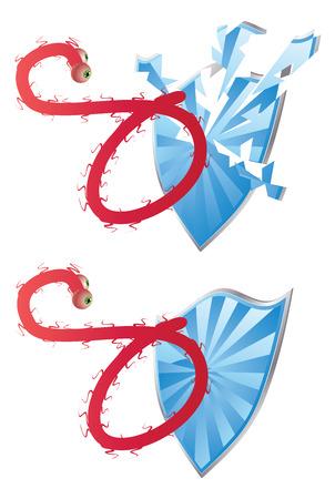 deadly: Deadly Ebola virus attacks the blue shield.