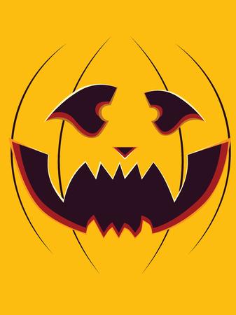 carving pumpkin: Cara feliz de la calabaza de Halloween tallar sobre fondo amarillo.