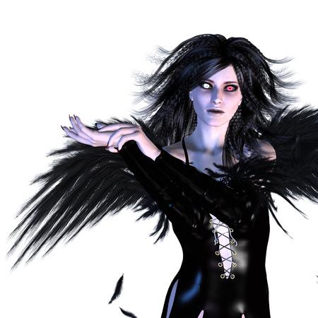 dark angel: Digitally rendered illustration of a dark fallen angel on white background. Stock Photo