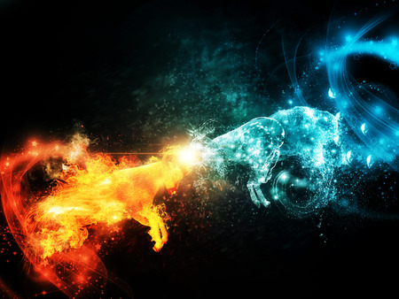 black background abstract: Two horned sheeps made from fire and water are fighting each other. Stock Photo