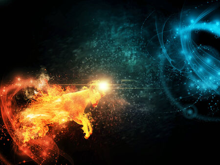 Flaming horned sheep is jumping over abstract background. photo