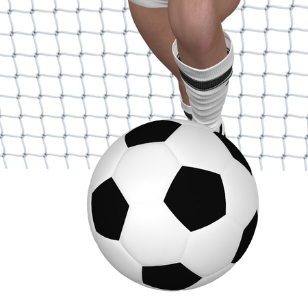 Digitally rendered illustration of a goal girl legs with soccer ball on white background. Stock Photo