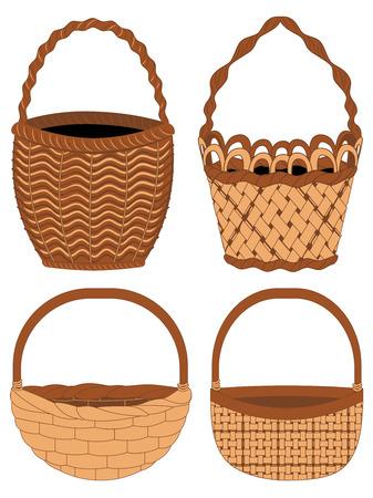 Set of different empty baskets on white background. Illustration
