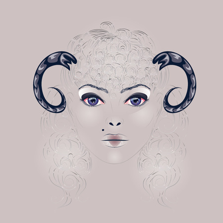 Art illustration of a girl face with makeup, two horns and curly hairstyle. Vector