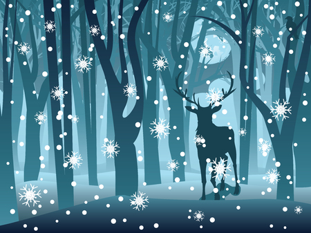Silhouettes of a stag in the forest at the winter time.