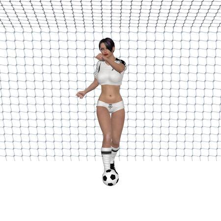 soccer goal: Digitally rendered illustration of a goal girl with soccer ball on white background.