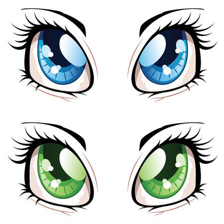 ojos caricatura: Conjunto de manga, ojos estilo anime de diferentes colores.