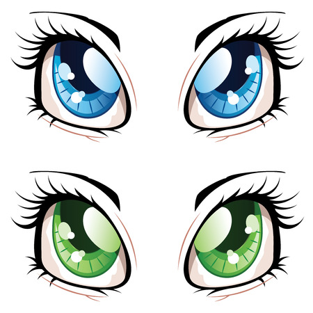 Set of manga, anime style eyes of different colors. Ilustração