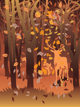 mother and baby deer: Silhouette of a stag in the forest at the autumn time. Illustration