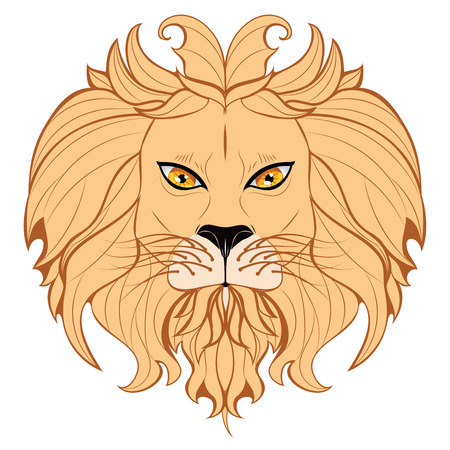dominating: Abstract illustration of a stylized lion head with mane.