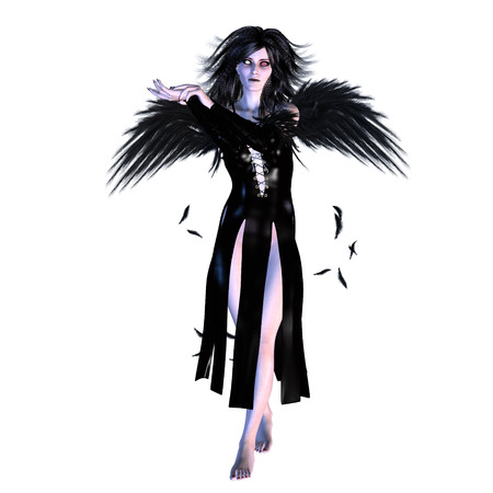 fallen: Digitally rendered illustration of a dark fallen angel on white background. Stock Photo