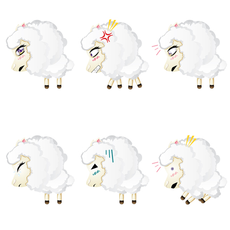 chibi: Set of cute sheep, chibi style, in different expressions.