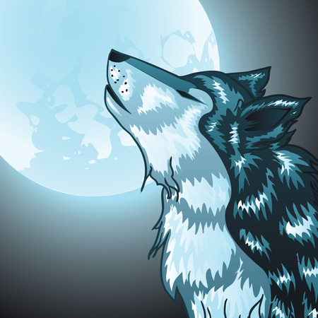wolves: Stylized cartoon gray wolf head, howling wolf.