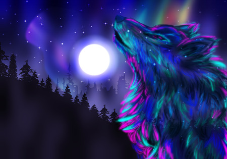 Colorful northern landscape with howling wolf spirit and aurora borealis. Stock Photo