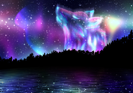 spirit: Colorful northern landscape with howling wolf spirit and aurora borealis. Stock Photo