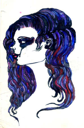 abstractive: Abstractive illustration of female portrait, watercolor and ink.