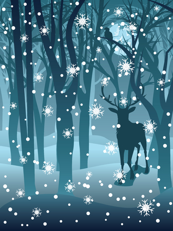 Silhouettes of a stag in the forest at the winter time. Vector