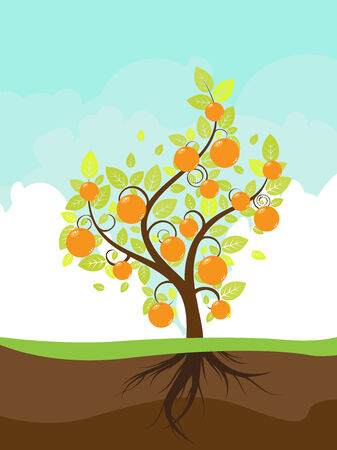 Cloudy sky background and stylized orange tree on the ground. Illustration