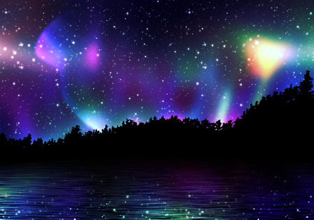 Northern lights, aurora borealis in the sky over the night forest.