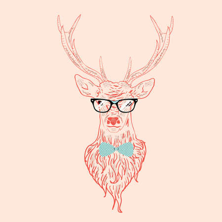 Illustration of a deer hipster in glasses, hand drawn style. Vector