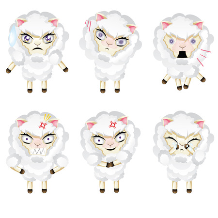looking away: Set of cute sheep, chibi style, in different expressions.