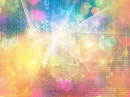 halftones: Abstract colorful background with bokeh light effect and halftones.