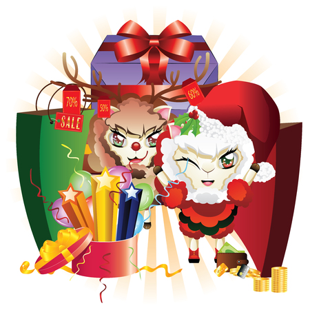 santa suit: Sheep in Santa suit and sheep in deer suit with gift boxes.