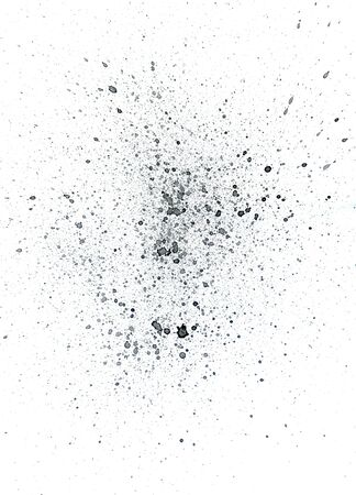 spoiled: Abstract grunge black watercolor splatter on white background. Stock Photo