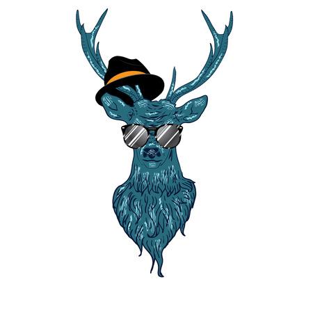Illustration d'un hipster cerfs dans des verres, le style dessiné à la main. Banque d'images - 34868300