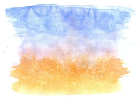 abstractive: Abstractive blue and orange watercolor texture as grunge background. Stock Photo
