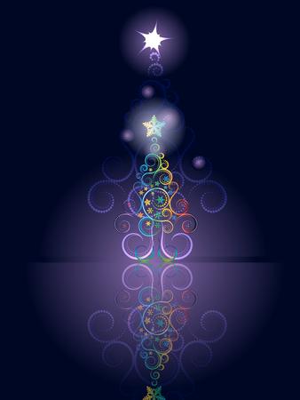 goldy: Dise�o de la tarjeta de felicitaci�n decorativa con el �rbol de navidad abstracto.