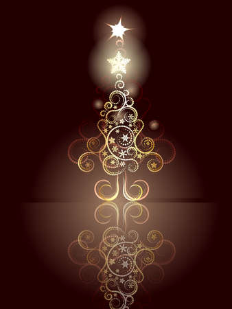 goldy: Decorative greeting card design with abstract Christmas tree.