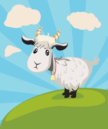 Cute cartoon goat on green lawn illustration. illustration