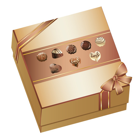 candy box: Tasty assorted chocolate candy in a box with bow.