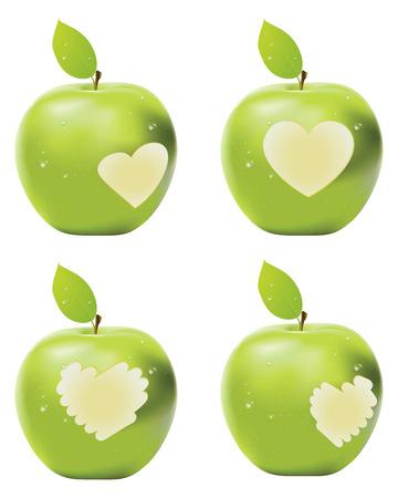 apple bite: Fresh green apple with heart shaped bite. Illustration