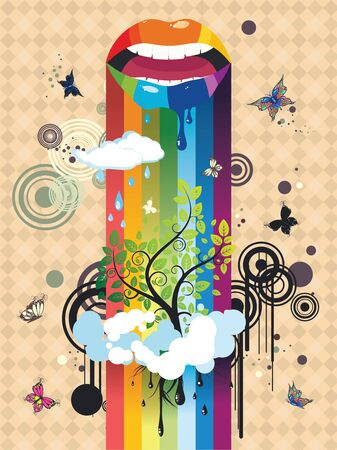 paint dripping: Paint dripping lips, surreal tree in clouds with butterflies, abstract background.