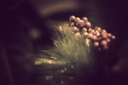 fake christmas tree: Christmas background with fake red berries on fir tree branch. Stock Photo