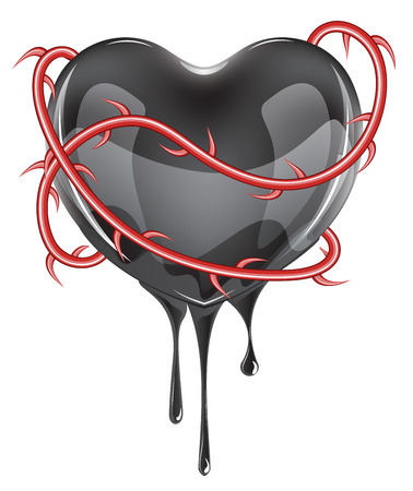 breakup: Black bleeding heart icon with red rose thorns on white background.