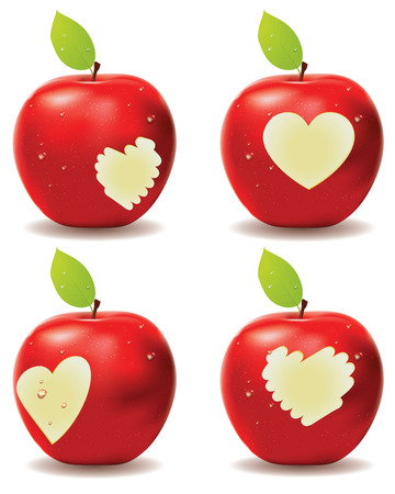red apple: Fresh red apple with heart shaped bite.