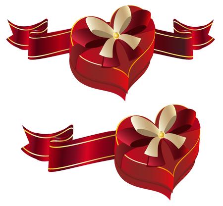 velvet ribbon: Bright red heart shaped gift box with ribbon. Illustration
