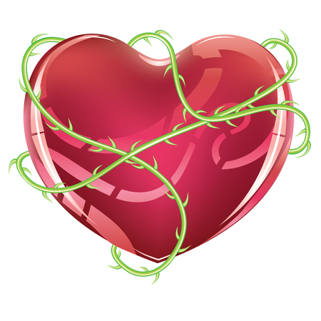 Red glossy heart icon with green rose thorns on white background. Illustration