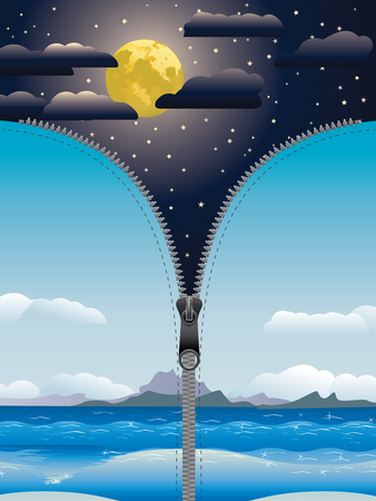 unzipped: Fantasy illustration of unzipped starry night sky with big moon. Illustration
