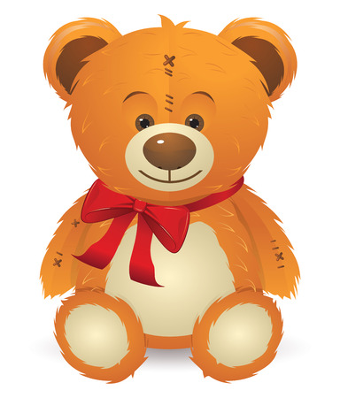 Cute happy teddy bear toy with red bow illustration. Иллюстрация