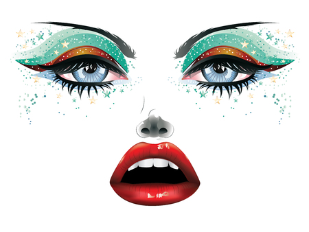 Abstract female face with colorful festival eye makeup and red lips.