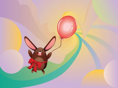 Cute happy chocolate bunny with red balloon illustration. Vector