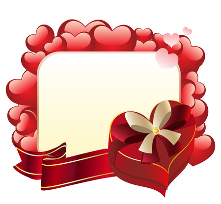 shaped: Bright red heart shaped gift box with ribbon. Illustration