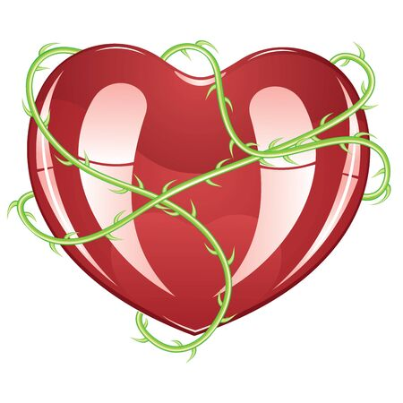 lovestruck: Red glossy heart icon with green rose thorns on white background. Illustration