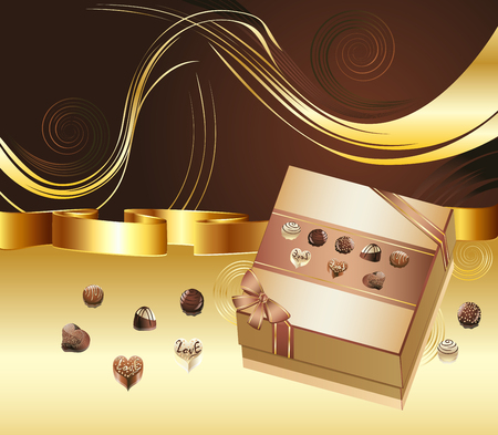 Decorative brown background with floral elements and chocolate box. Illustration