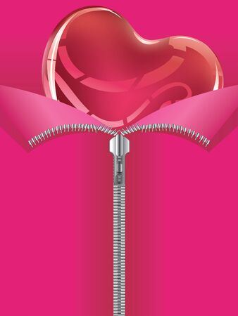 unzipped: Zipper opening to reveal a soft glossy red heart. Illustration