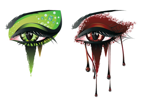 Abstract colorful illustration of vampire eye makeup in carnival style. Illustration